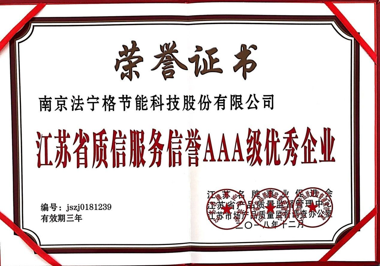 "Feininger won the title of ""AAA Excellent Enterprise of Quality and Credit Service in Jiangsu Province"""